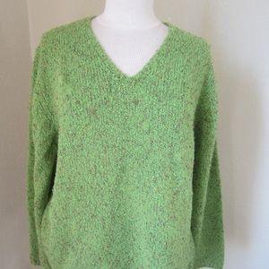 Coldwater Creek Green Confetti sweater L